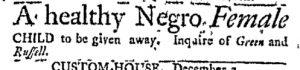 Dec 4 - Massachusetts Gazette and Boston Post-Boy Slavery 1