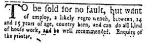 Dec 4 - New-York Gazette and Weekly Mercury Slavery 1
