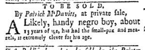 Dec 4 - New-York Gazette and Weekly Mercury Slavery 3