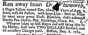 Dec 7 - Massachusetts Gazette and Boston Weekly News-Letter Slavery 1