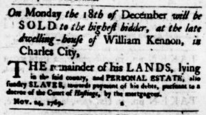 Dec 7 - Virginia Gazette Purdie and Dixon Slavery 2