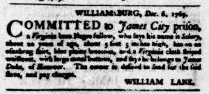 Dec 7 - Virginia Gazette Purdie and Dixon Slavery 3