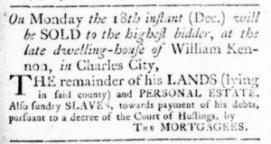 Dec 7 - Virginia Gazette Rind Slavery 3