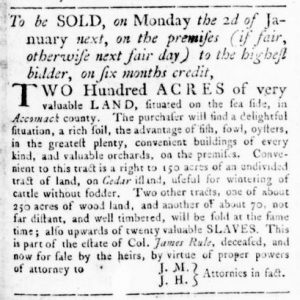 Dec 7 - Virginia Gazette Rind Slavery 4