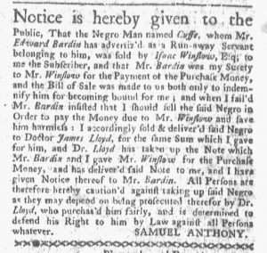 Jan 1 1770 - Boston-Gazette Slavery 1