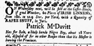 Jan 1 1770 - New-York Gazette and Weekly Mercury Slavery 1