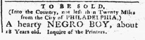 Jan 1 1770 - Pennsylvania Chronicle Slavery 1