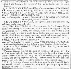 Jan 10 1770 - Georgia Gazette Slavery 5