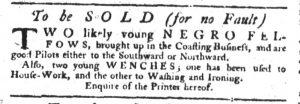 Jan 11 1770 - South-Carolina Gazette Slavery 1