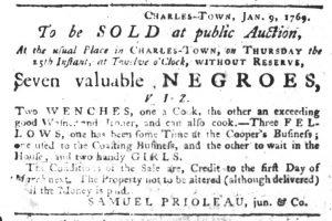 Jan 11 1770 - South-Carolina Gazette Slavery 3