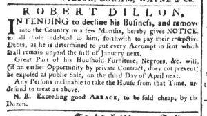 Jan 11 1770 - South-Carolina Gazette Supplement Slavery 1