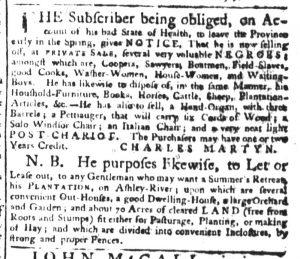 Jan 11 1770 - South-Carolina Gazette Supplement Slavery 3