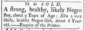 Jan 2 1770 - Essex Gazette Slavery 1
