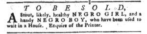 Jan 2 1770 - South-Carolina Gazette and Country Journal Slavery 10