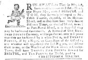 Jan 2 1770 - South-Carolina Gazette and Country Journal Slavery 12