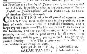 Jan 2 1770 - South-Carolina Gazette and Country Journal Slavery 13