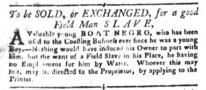 Jan 2 1770 - South-Carolina Gazette and Country Journal Slavery 6
