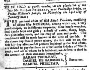 Jan 2 1770 - South-Carolina Gazette and Country Journal Slavery 7