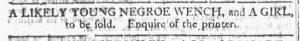Jan 3 1770 - Georgia Gazette Slavery 1