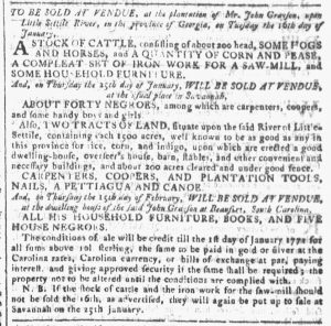 Jan 3 1770 - Georgia Gazette Slavery 3