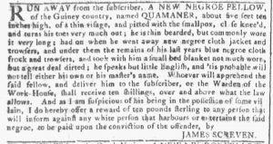 Jan 3 1770 - Georgia Gazette Slavery 4