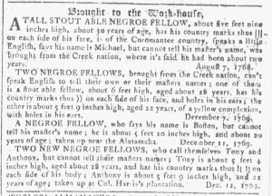 Jan 3 1770 - Georgia Gazette Slavery 9