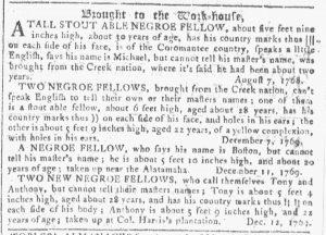 Jan 3 1770 - Georgia Gazette Slavery 9