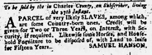 Jan 4 1770 - Maryland Gazette Slavery 1