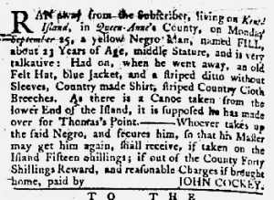 Jan 4 1770 - Maryland Gazette Slavery 3