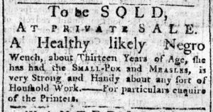 Jan 4 1770 - New-York Chronicle Slavery 1