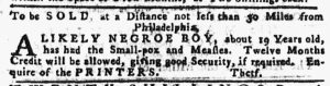 Jan 4 1770 - Pennsylvania Gazette Slavery 1