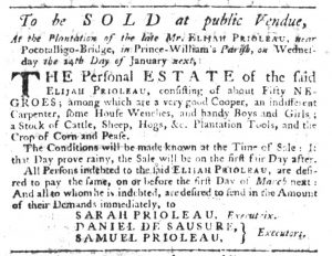 Jan 4 1770 - South-Carolina Gazette Slavery 3