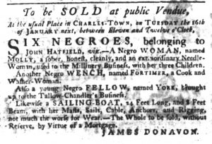 Jan 4 1770 - South-Carolina Gazette Slavery 7