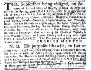 Jan 4 1770 - South-Carolina Gazette Slavery 8