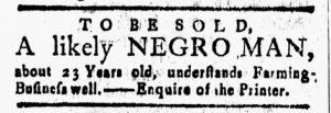 Jan 5 1770 - New-London Gazette Slavery 1