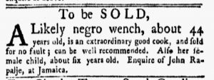 Jan 8 1770 - New-York Gazette and Weekly Mercury Slavery 4