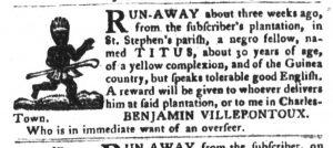 Jan 9 1770 - South-Carolina Gazette and Country Journal Slavery 1