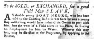 Jan 9 1770 - South-Carolina Gazette and Country Journal Slavery 10