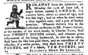Jan 9 1770 - South-Carolina Gazette and Country Journal Slavery 2