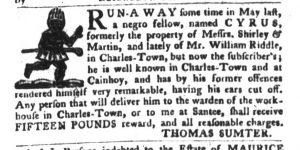 Jan 9 1770 - South-Carolina Gazette and Country Journal Slavery 3
