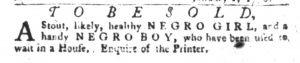 Jan 9 1770 - South-Carolina Gazette and Country Journal Slavery 4