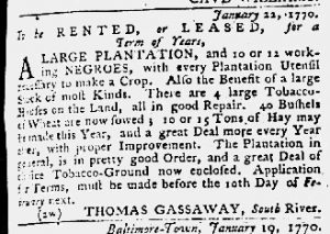 Feb 1 1770 - Maryland Gazette Slavery 1