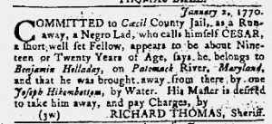 Feb 1 1770 - Maryland Gazette Slavery 2