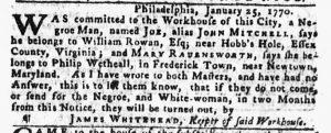 Feb 1 1770 - Pennsylvania Gazette Slavery 1