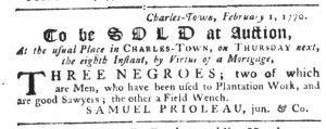 Feb 1 1770 - South-Carolina Gazette Slavery 1