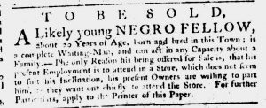 Feb 1 1770 - South-Carolina Gazette Slavery 13
