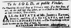 Feb 1 1770 - South-Carolina Gazette Slavery 14