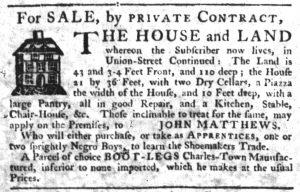 Feb 1 1770 - South-Carolina Gazette Slavery 16