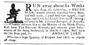 Feb 1 1770 - South-Carolina Gazette Slavery 17