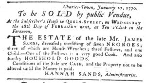 Feb 1 1770 - South-Carolina Gazette Slavery 3